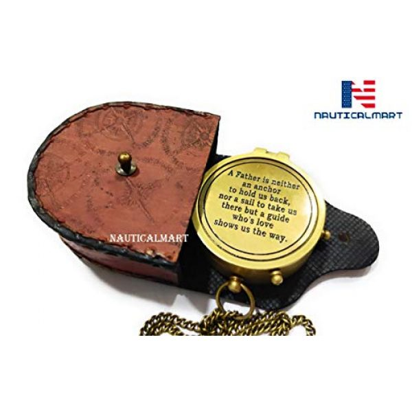 NauticalMart Survival Compass 5 NauticalMart A Father is Neither an Anchor Engraved Compass Best Gift for Dad, Dad's Birthday Gifts, Father's Day Compass with Case