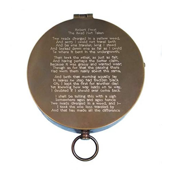 Stanley London Survival Compass 2 Stanley London Personalized Large Antique Pocket Compass Engraved with The Road Not Taken Poem by Robert Frost