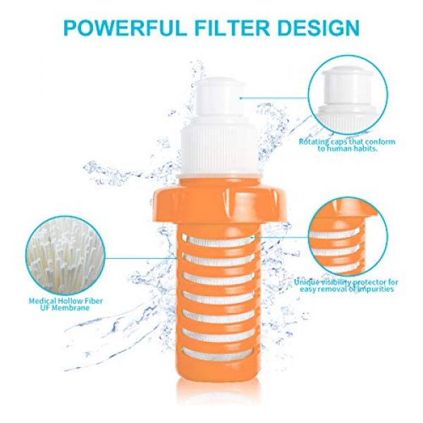 joypur Survival Water Filter 2 joypur Collapsible 0.01 Micron Water Bottle with Filter 3-Stage Integrated Camping Water Purifier for Travel Hiking Backpacking Endurance Sports, 68 oz Filter Water Bottle