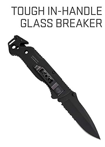 Emergency Knife and Survival Knife w/ 3.4 Inch Serrated Edge Knife Blade and Glass Breaker (FF25-CP)
