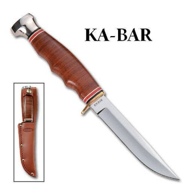 "Ka-Bar Fixed Blade Survival Knife 3 Ka-Bar 2-1232-1 Sheath Knife 4"""