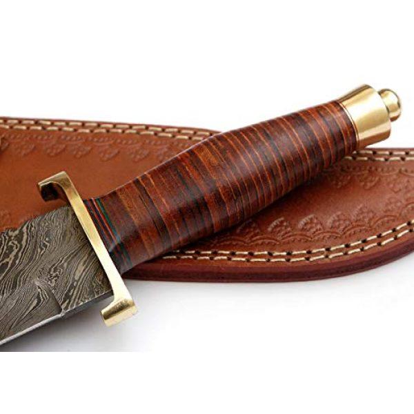SharpWorld Fixed Blade Survival Knife 3 SharpWorld 15 Inches Custom Damascus Hunting Knife Exotic Handle w/Leather Sheath TJ116