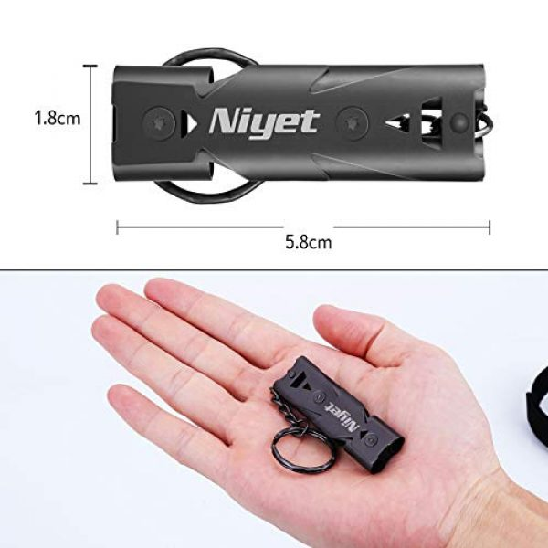 NIYET Survival Whistle 3 NIYET Emergency Whistle for Outdoor Survival, High Pitch Safety Whistle for Camping, Hiking, Hunting with Double Tubes Lanyard Keychain, Pack of 2