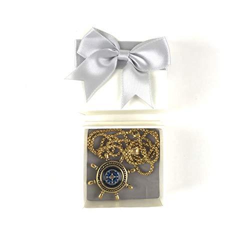 DETUCK  6 DETUCK(TM Rudder Compass Necklace Gold   Compass Necklace for Women Men Dad Mom   Compass Necklace Graduation Gift Birthday Gift Boxes Wrap