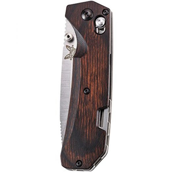 Benchmade Folding Survival Knife 3 Benchmade - Grizzly Creek 15060-2 Knife, Drop-Point Blade, Plain Edge, Satin Finish, Wood Handle