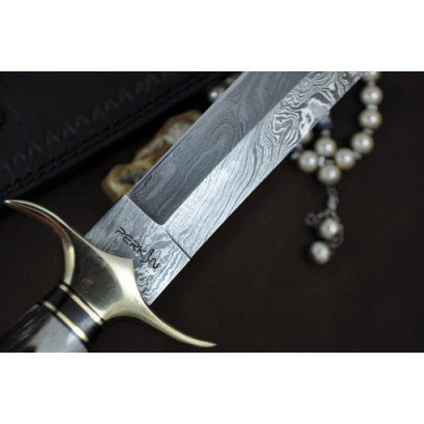 Perkin Fixed Blade Survival Knife 6 Handmade Damascus Steel Hunting Knife - Beautiful Bowie Knife - Amazing Value