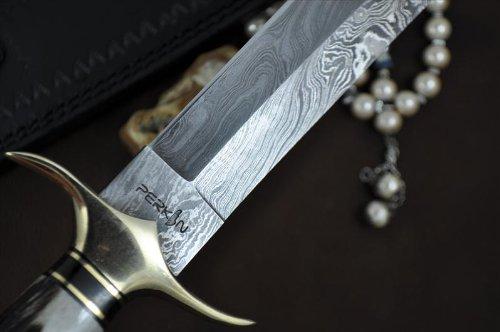 Perkin Knives  6 Handmade Damascus Steel Hunting Knife - Beautiful Bowie Knife - Amazing Value
