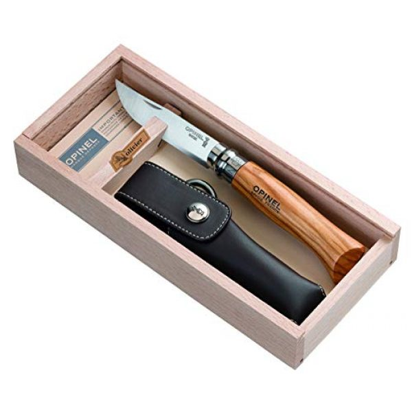 Opinel Folding Survival Knife 2 Opinel Olivewood Handle No. 8 Knife - Box Set with Sheath
