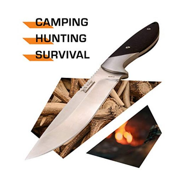 Elk Ridge Evolution Fixed Blade Survival Knife 2 Elk Ridge Evolution - Outdoors Fixed Blade Hunting Knife - Satin Finish Drop Point Blade with Black G10 Handle and Leather Sheath - Full Tang