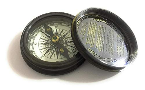 NauticalMart Survival Compass 2 Antique Pocket Compass- Marine Nautical Gift Compass w/ Leather Case