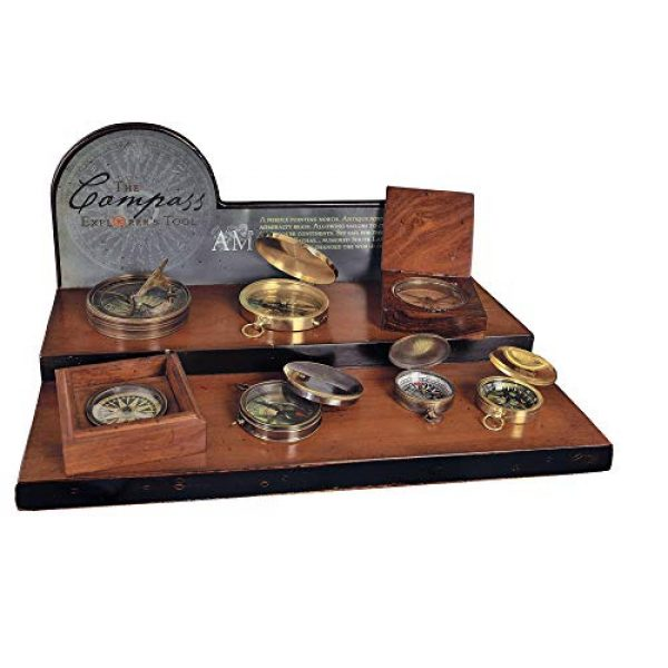 Authentic Models Survival Compass 2 Authentic Models, 18th C. Sundial & Compass - Aged Finish in Hand-Buffed Duotone