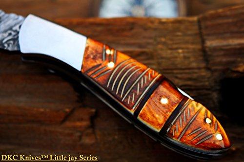 "DKC Knives  7 DKC Knives DKC-58-LJ-EH-DS-PC Little Jay Chief Pocket Clip Damascus Steel Folding Pocket Knife Handle 4"" Folded 7"" Long 4.7oz oz High Class Looks Hand Made LJ-Series"