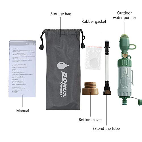 Walmeck  5 Walmeck Multiple Fuction Water Purifier Portable Water Filter Straw Drinking Water Filtration Purifier for Outdoor Survival Emergency Preparedness