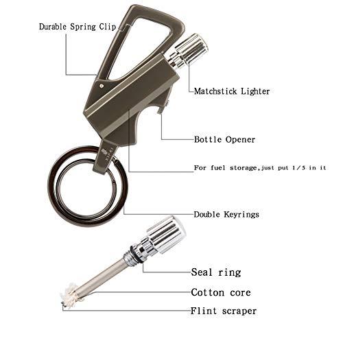 XIFEI Survival Fire Starter 2 XIFEI Keychain Bottle Opener and Matchstick Fire Starter Great Kerosene Refillable Keychain Lighter