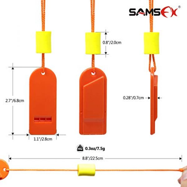 SAMSFX Survival Whistle 2 SAMSFX Safety Float Whistle with Lanyard Floating for Marine Boating Camping Hiking Hunting Fishing Survival Rescue Signaling