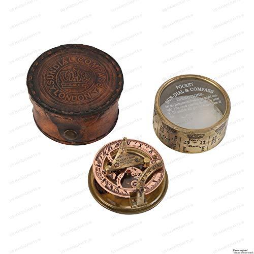 US HANDICRAFTS Survival Compass 2 Vintage Compass NAVIGATIONAL Instrument - Marine Sundial Compass with Leather Case & Calendar.