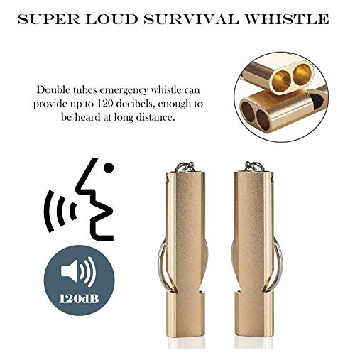 HD HOME  2 2PCS Outdoor Loudest Emergency Survival Whistles with Carabiner and Lanyard for Camping Hiking Sports Dog Training