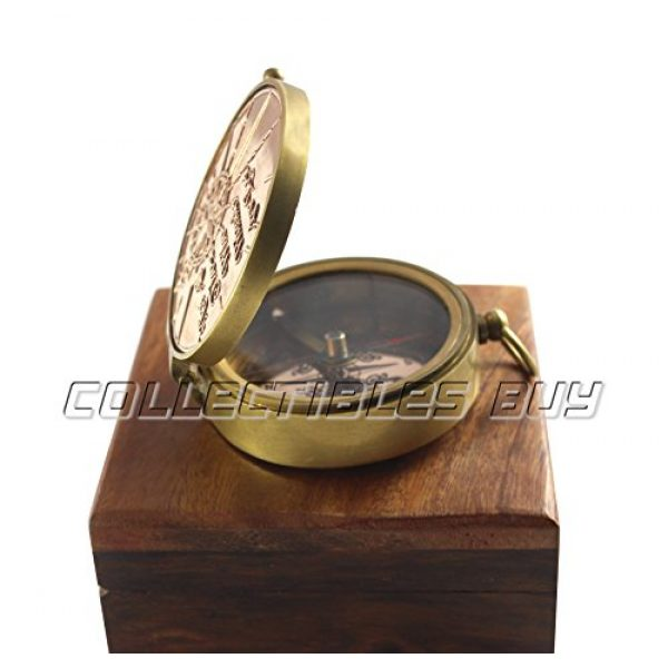 collectiblesBuy Survival Compass 5 an Authentic Quote Compass with Wooden Box - Magnetic Directional Copper Finish, Marine Brass Ship Xmas Gift