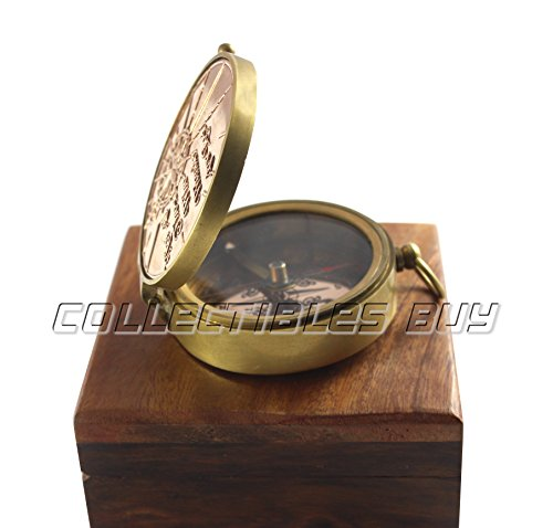 collectiblesBuy  3 an Authentic Quote Compass with Wooden Box - Magnetic Directional Copper Finish