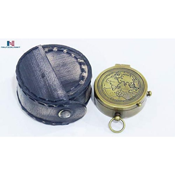 NauticalMart Survival Compass 2 NauticalMart Brass Compass The World is a Book & Those Who Do Not Travel Read Only a Page Quote Gift Decor