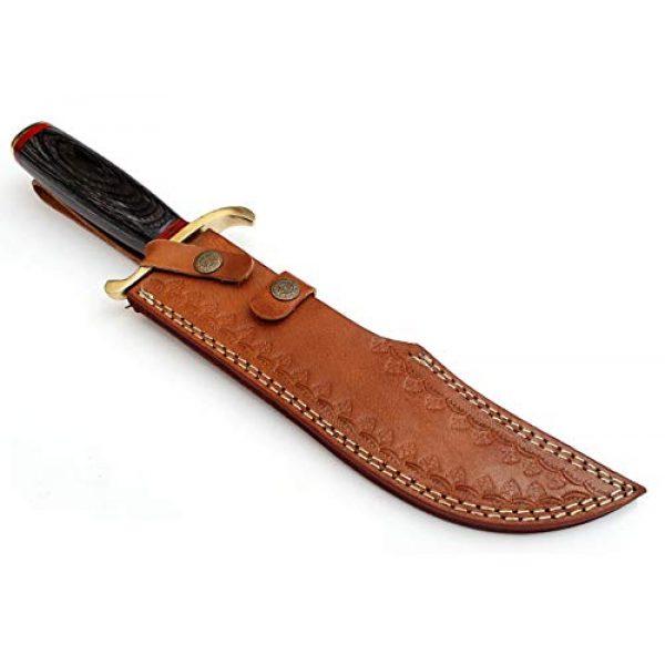 SharpWorld Fixed Blade Survival Knife 6 SharpWorld 15 Inches Custom Damascus Knife Black Wood Handle w/Brown Leather Sheath TJ118