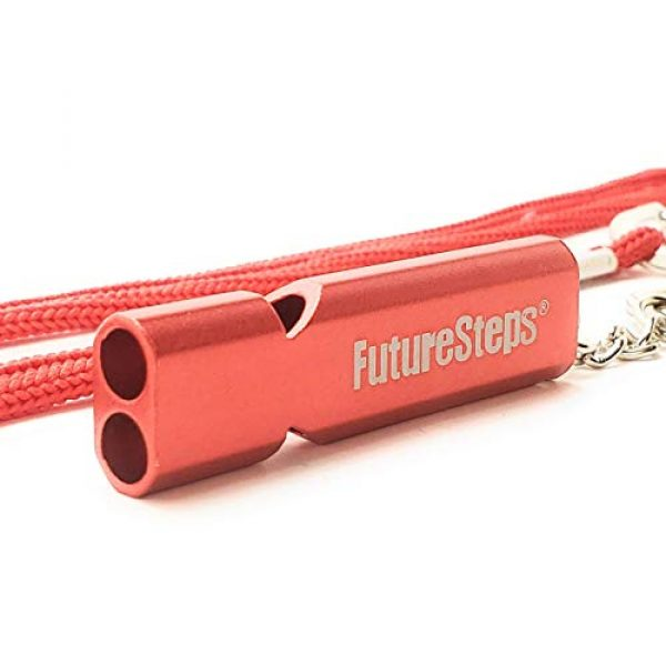 FUTURESTEPS Survival Whistle 5 FUTURESTEPS Survival Whistle, Emergency Safety, Loud for Hiking, Storm, Camping, Boating, Dog Training with Lanyard - 120 Decibels - Red Color - 36 Inch Lanyard