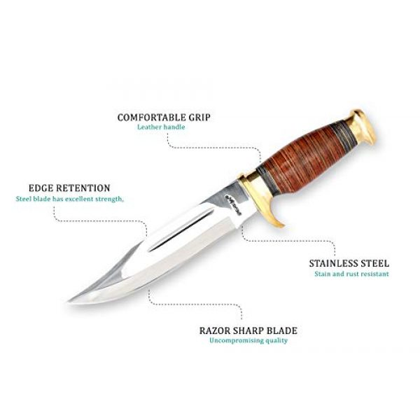 Perkin Fixed Blade Survival Knife 2 Perkins   12.5 inch Fixed Blade Bowie Knife   Hunting Knife, Leather Handle   Leather Sheath   Designed for Hunting, Survival, Skinning, Camping & Self Defense  