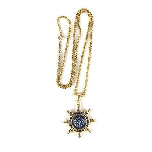 DETUCK  4 DETUCK(TM Rudder Compass Necklace Gold   Compass Necklace for Women Men Dad Mom   Compass Necklace Graduation Gift Birthday Gift Boxes Wrap