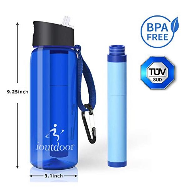 ioutdoor Survival Water Filter 5 ioutdoor Filtered Water Bottle 22oz with One Free Emergency Blanket, BPA Free Tumblers with 2-Stage Intergrated Filter Straw for Camping, Hiking, Backpacking,Travel,Daily Use
