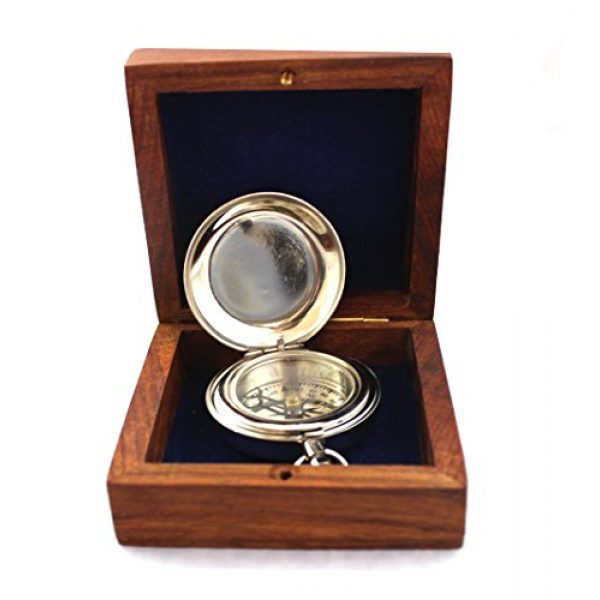 collectiblesBuy Survival Compass 5 collectiblesBuy Charming Wooden Box Pocket Compass Nautical Brass Ship Sailor Navigate Maritime Instrument, 2.5 inches, Chrome Finish