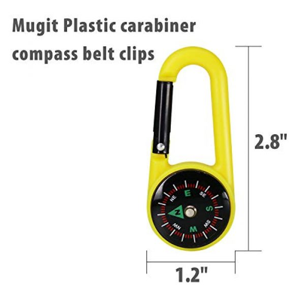 MIASTAR Survival Compass 2 Compass Climbing Carabiner 12pcs Outdoor Camping Accessory Self Locking Carabiner Clip Hook Keychain - 2.5 Inches Assorted Colors Plastic Carabiner for Kids - Camping, Backpacking, Party Favors, Toy