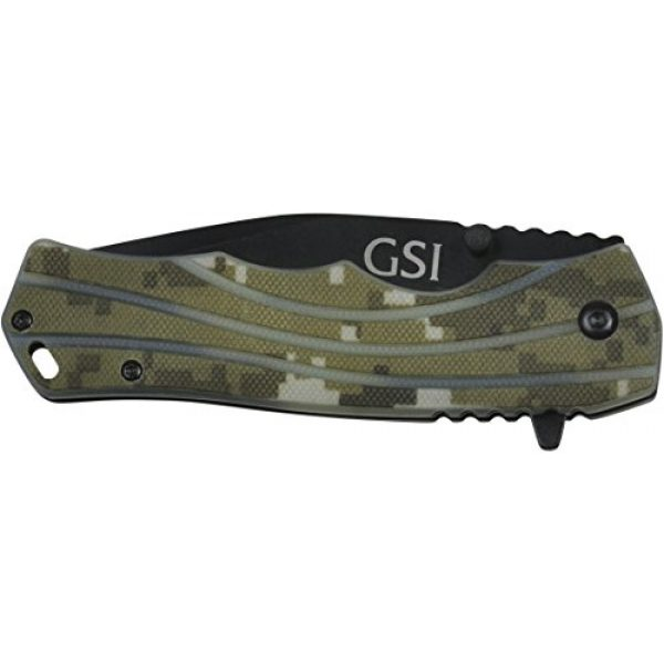 "GSI Tactical Folding Survival Knife 2 GSI Tactical Camo Blackout Ops Folding Knife 4.5"" Closed, 3.5"" Blade. HRC 53-55 Steel. Hunting Knife. Survival Knife. Military Knife."