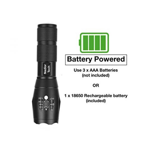 Nadlor Tech Survival Flashlight 3 Nadlor Tech Tactical Flashlight 1000 Lumens Kit w/ 1 Rechargeable Battery, Charger, and Protective Case Included, 5 Modes, Best for Camping, Hunting, Emergency, Dog Walking at Night.