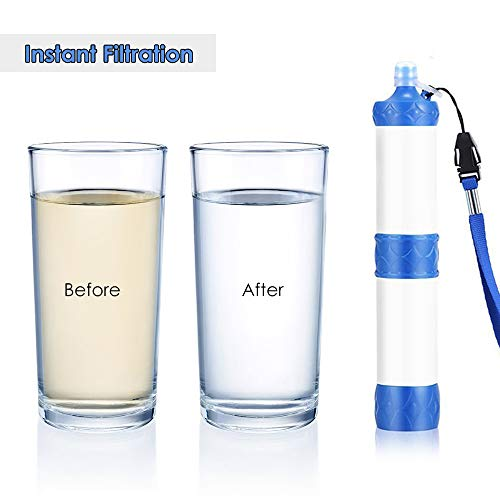 Lixada  5 Lixada Straw Water Filter Portable Emergency Survival Water Purifier Filtration System Bottom Thread Design for Hiking Camping Travel Backpacking Outing Water Supply Preparedness