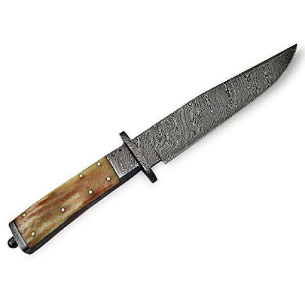 "Knife King Fixed Blade Survival Knife 4 Knife King ""Custom Damascus Handmade Hunting Knife. with Leather Sheath"