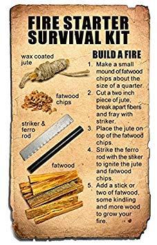 Steve Kaeser Survival Fire Starter 3 Steve Kaeser Fatwood 100% Natural Firestarter Sticks Hand Cut in The USA Ferro Rod Ferrocerium Flint Jute Fatwood Chips Striker Tin Container Survival Emergencies Camping Since 1989