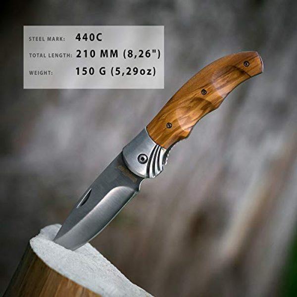 Grand Way Folding Survival Knife 6 Gentlemans Folding Knife Pocket Knife Knives Knofe Wood Handle Sharp Blade - Pocket Knife for Men - Best Folder for Camping Hunting - Survival EDC and Outdoor Gear Cool Mens Gift 6651 0924