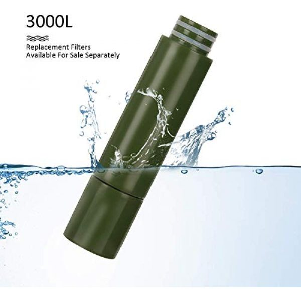 Purewell Survival Water Filter 3 Purewell Replaceable Water Filter for Portable Filtered Water Purifier - Emergency Water Filter Pump with 4-Stage Integrated Filter for Camping Hiking Backpacking