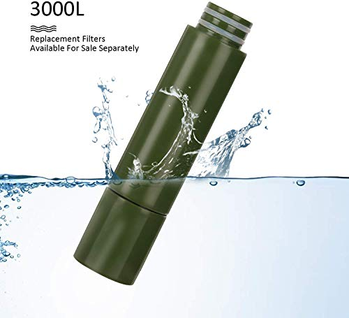 Purewell  3 Purewell Replaceable Water Filter for Portable Filtered Water Purifier - Emergency Water Filter Pump with 4-Stage Integrated Filter for Camping Hiking Backpacking