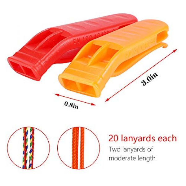 FFNIU Survival Whistle 2 FFNIU 20 Pcs Safety Emergency Whistle Plastic Whistle Red and Orange Set with Lanyard for Boating Camping Hiking Climbing