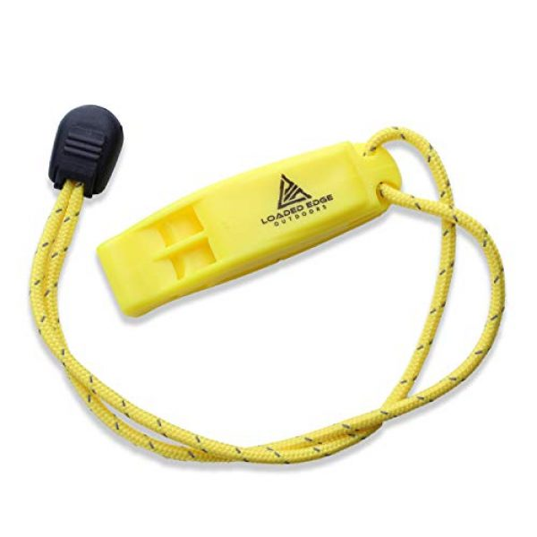 Loaded Edge Survival Whistle 3 Safety Survival Whistle Emergency Running Whistles with Lanyard (2 Pack) Green/Yellow - Extra Loud - Perfect for Hiking, Boating, Camping, Hunting, Biking & More U.S. Veteran Owned Company