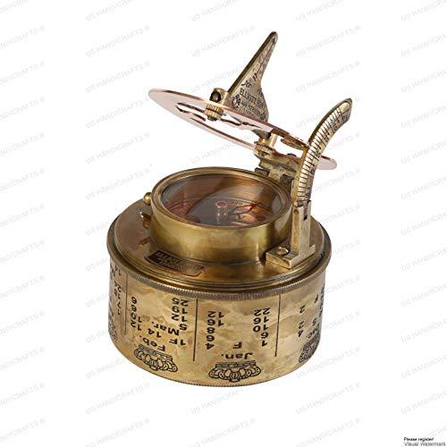 US HANDICRAFTS Survival Compass 4 Vintage Compass NAVIGATIONAL Instrument - Marine Sundial Compass with Leather Case & Calendar.