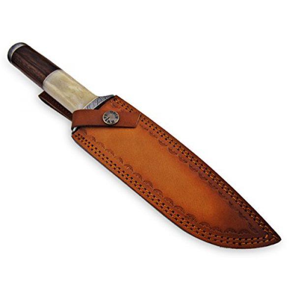 "Knife King Premium Fixed Blade Survival Knife 7 Knife King Premium ""Custom Damascus Handmade Hunting Knife. with Leather Sheath"