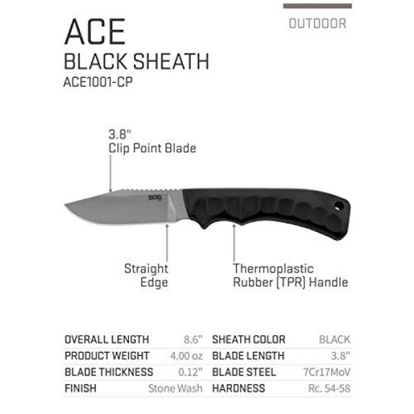 SOG Fixed Blade Survival Knife 2 SOG Fixed Blade Knives with Sheath - Ace Field Knife, Survival Knife, Hunting Knife, Camping Knife with 3.8 Inch Full Tang Blade