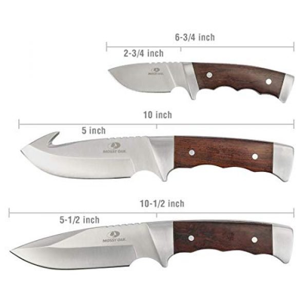 Mossy Oak Fixed Blade Survival Knife 2 MOSSY OAK Fixed Blade Hunting Knife Set 3-Piece, Wood Handle Straight Edge and Gut Hook Blades Game