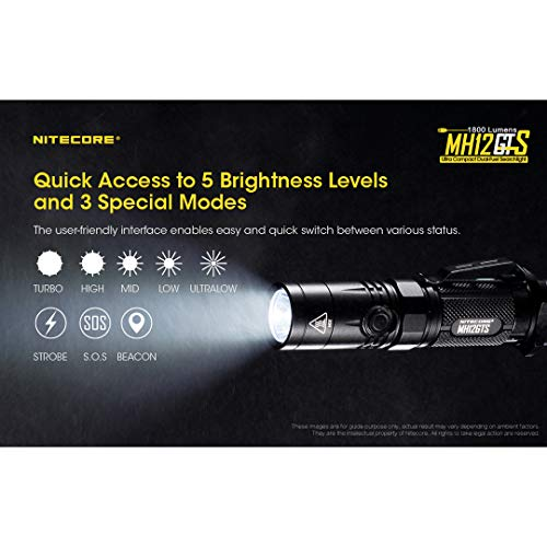 Nitecore  4 Nitecore MH12GTS 1800 Lumen Long Throw USB Rechargeable Tactical Flashlight with High Performance Battery & LumenTac Organizer