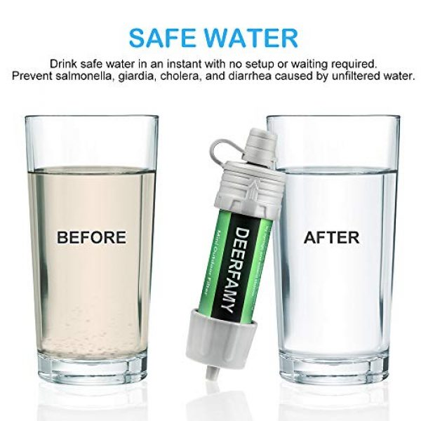 DEERFAMY Survival Water Filter 3 DEERFAMY Water Filter Hiking, Backpacking Water Purifier Emergency Personal Water Filtration Straw Survival System for Camping