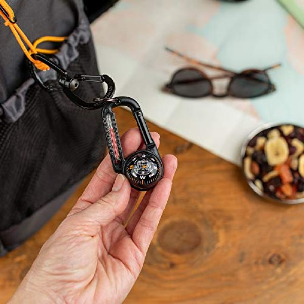 Sun Company Survival Compass 2 Sun Company TempaComp - Ball Compass and Thermometer Carabiner   Hiking, Backpacking, and Camping Accessory   Clip On to Pack, Parka, or Jacket