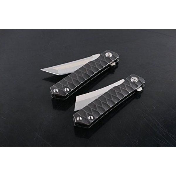 MASALONG Folding Survival Knife 4 MASALONG Survival Tactical Titanium Handle D2 Blade Pocket Hunting Outdoor Folding Knife (A1)