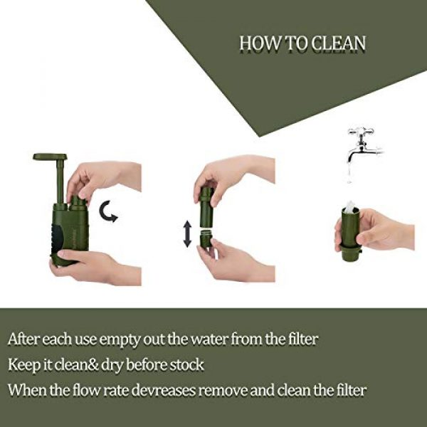 SurviMate Survival Water Filter 6 SurviMate Portable Water Filter Pump for Hiking Camping Travel Emergency use with Activated Carbon & 3 Filter Stages (Green) (Pump)